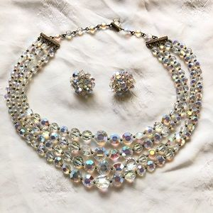 Vintage Faceted Glass Aurora Borealis Necklace
